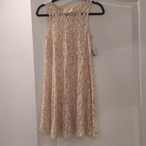 Free People sheer lacy cream dress NWT